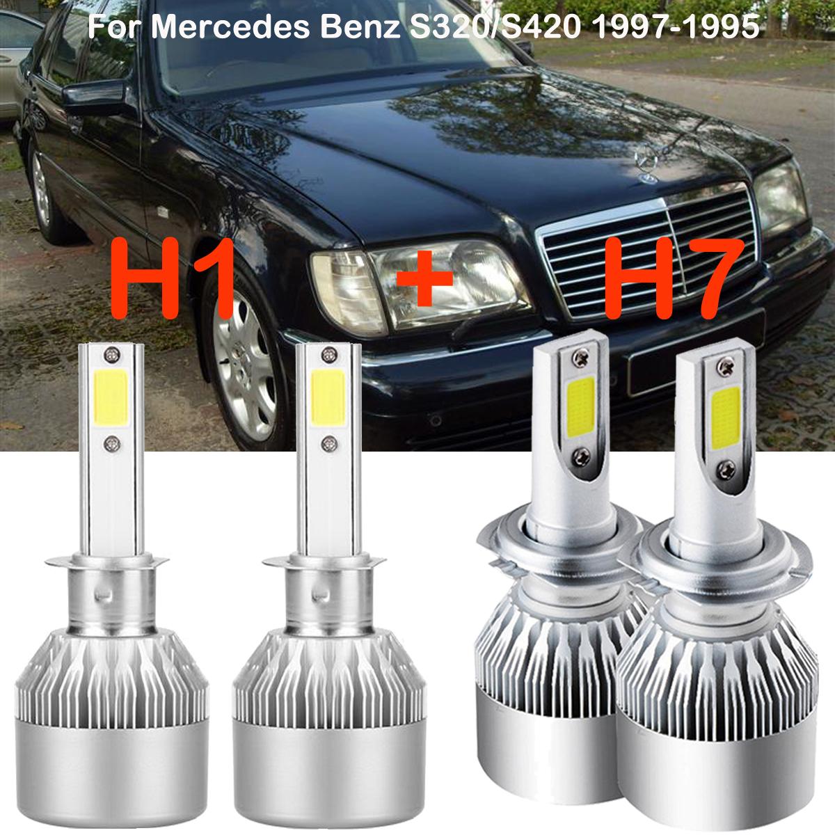 H1 H7 LED Headlight Kits Bulbs For Mercedes-Benz S320/S420 1997-1995 6000K  White