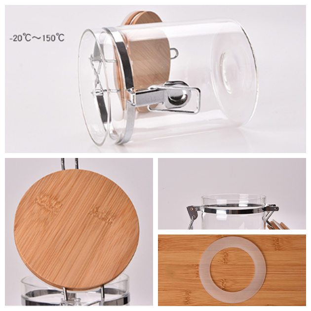5pcs Glass Jars Food Storage With Bamboo Lid Container