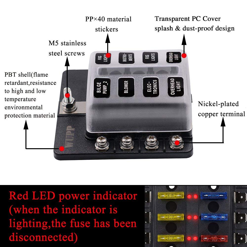 Blade Fuse Box Holder With Led Warning Indicator 8 Way Block Car Auto Boat Bus Utv Cover 12v Indicators
