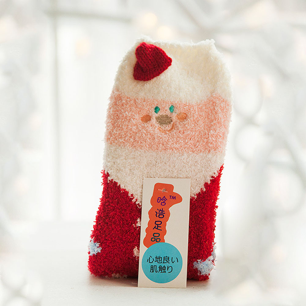 2PCS-Adult-Kid-Embroidery-Animal-Coral-Fleece-Socks-Thick-Warm-Winter-Xmas-Gift