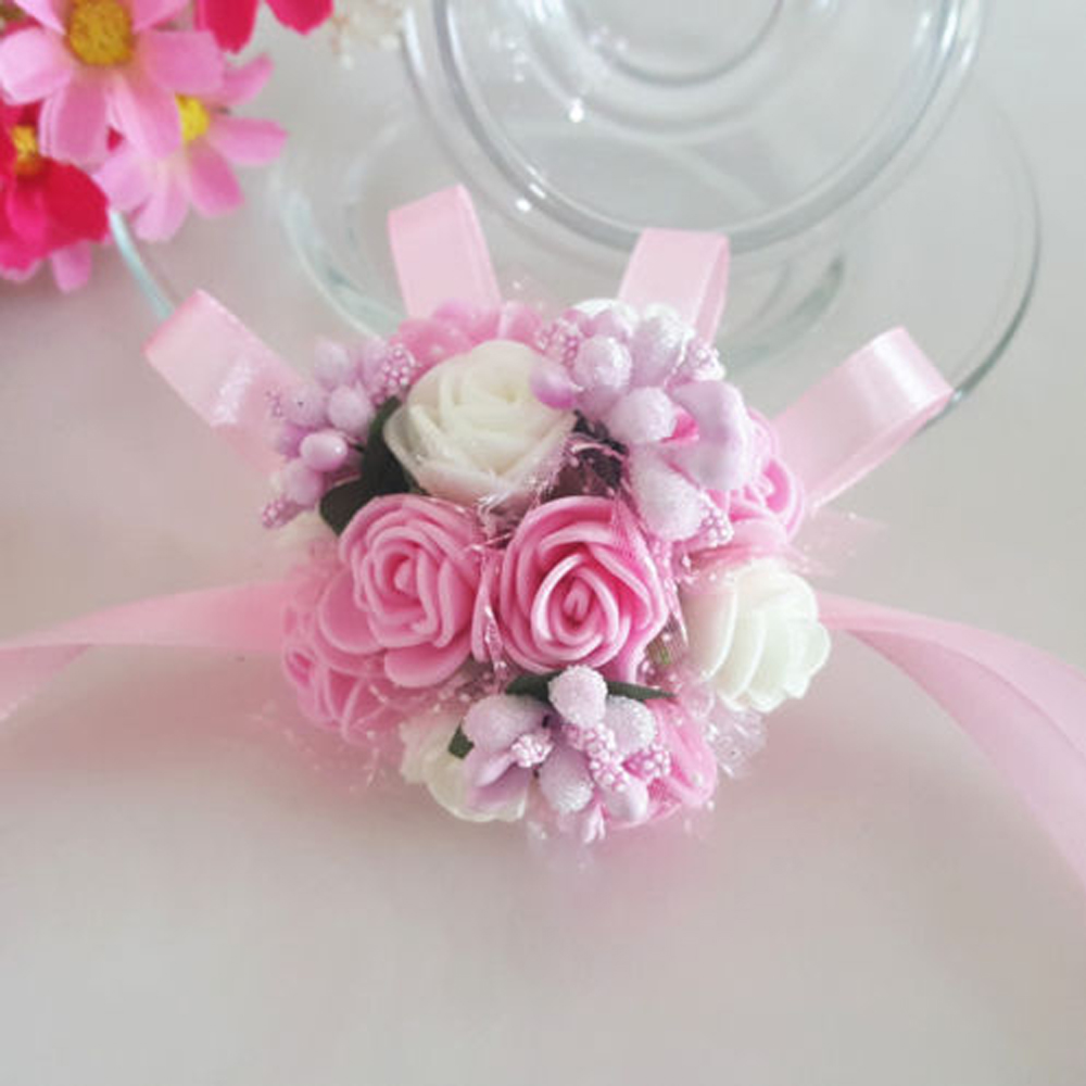 Bride Bridesmaid Foam Wrist Flower Corsage Kids Dance Hand Floral ...