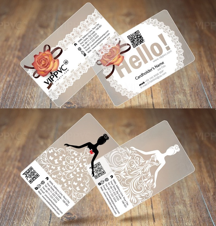 1000 PVC Plastic Hotel / Business Cards Printing - Frost Transparent ...
