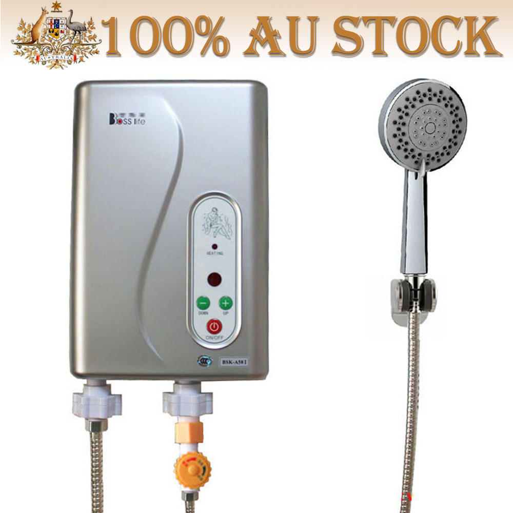 Electric Hot Water Heater >> Details About 5 8kw Electric Tankless Hot Water Heater System Temp Adjust With Shower Head