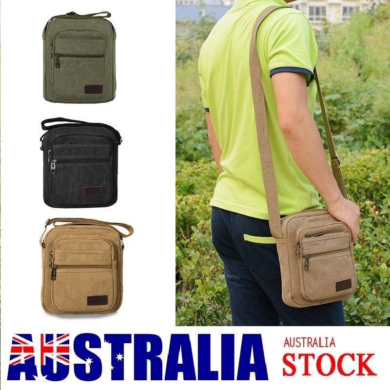 f58a31a3d401 Details about Retro Men s Canvas Shoulder Messenger Bag Military Tactical  Satchel Man s Bag AU