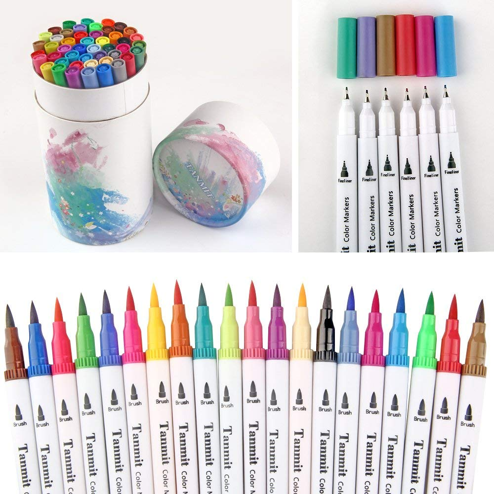 Details about 60 Dual Tip Brush Pens Art Markers Coloring Marker Pen  Highlighters New
