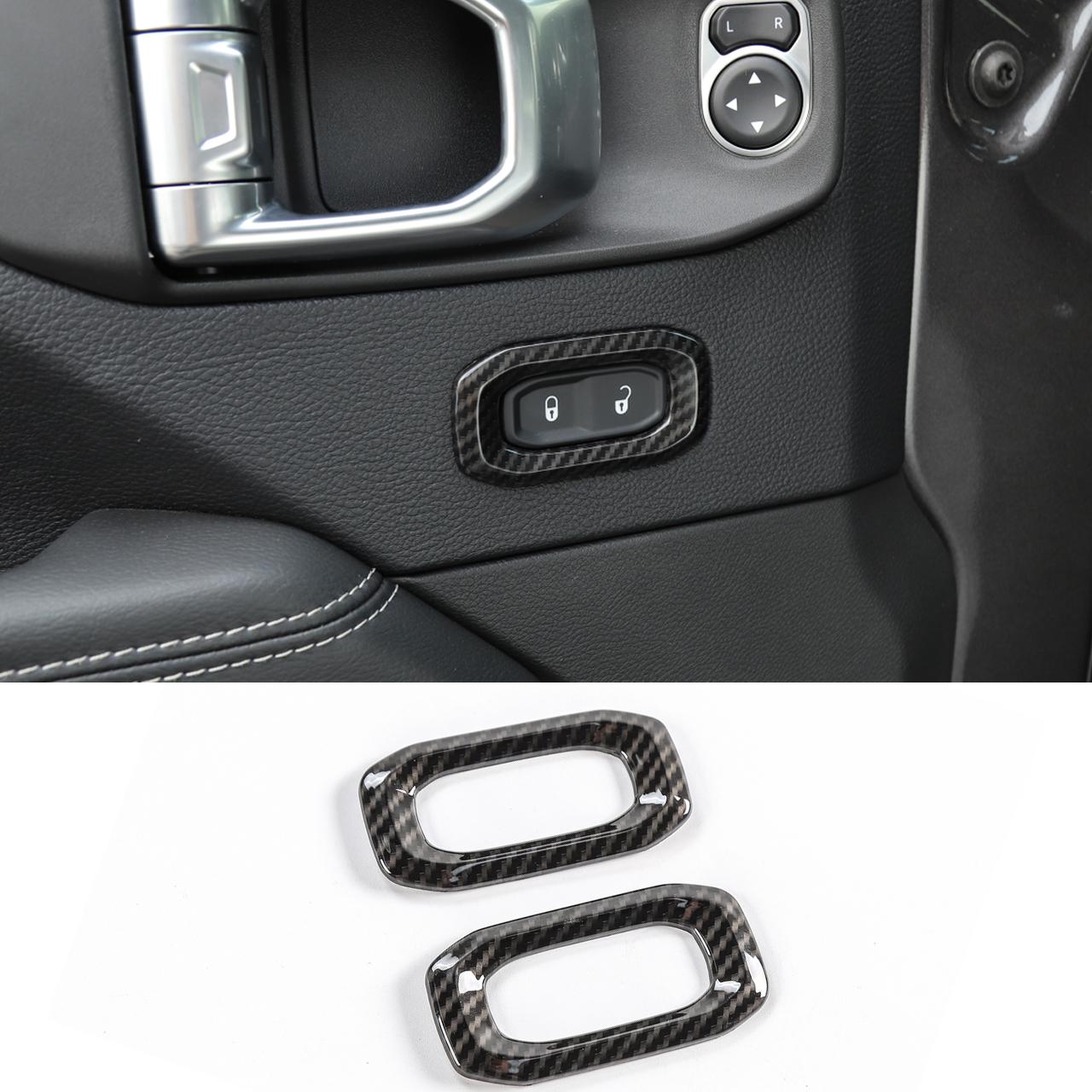 18-19 For Jeep Wrangler JL Carbon Fiber Accessories Car Door Handle Cover Trim