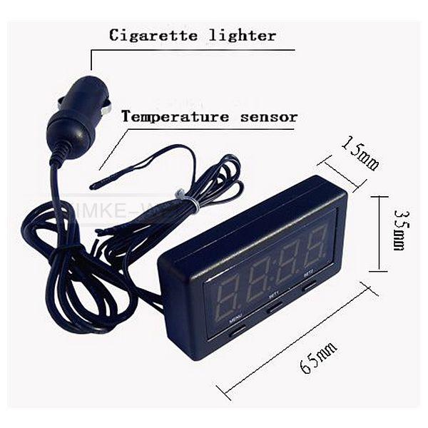 auto led thermometer voltmeter spannungsmesser uhr f r. Black Bedroom Furniture Sets. Home Design Ideas