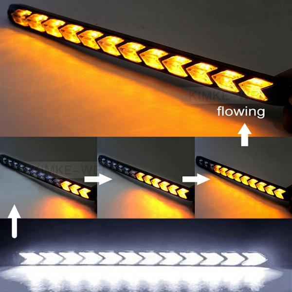 Universal 18cm 12V LED Kfz Blinker Scheinwerfer Gelb//Weiß LAUFEFFEKT Zusatzlampe