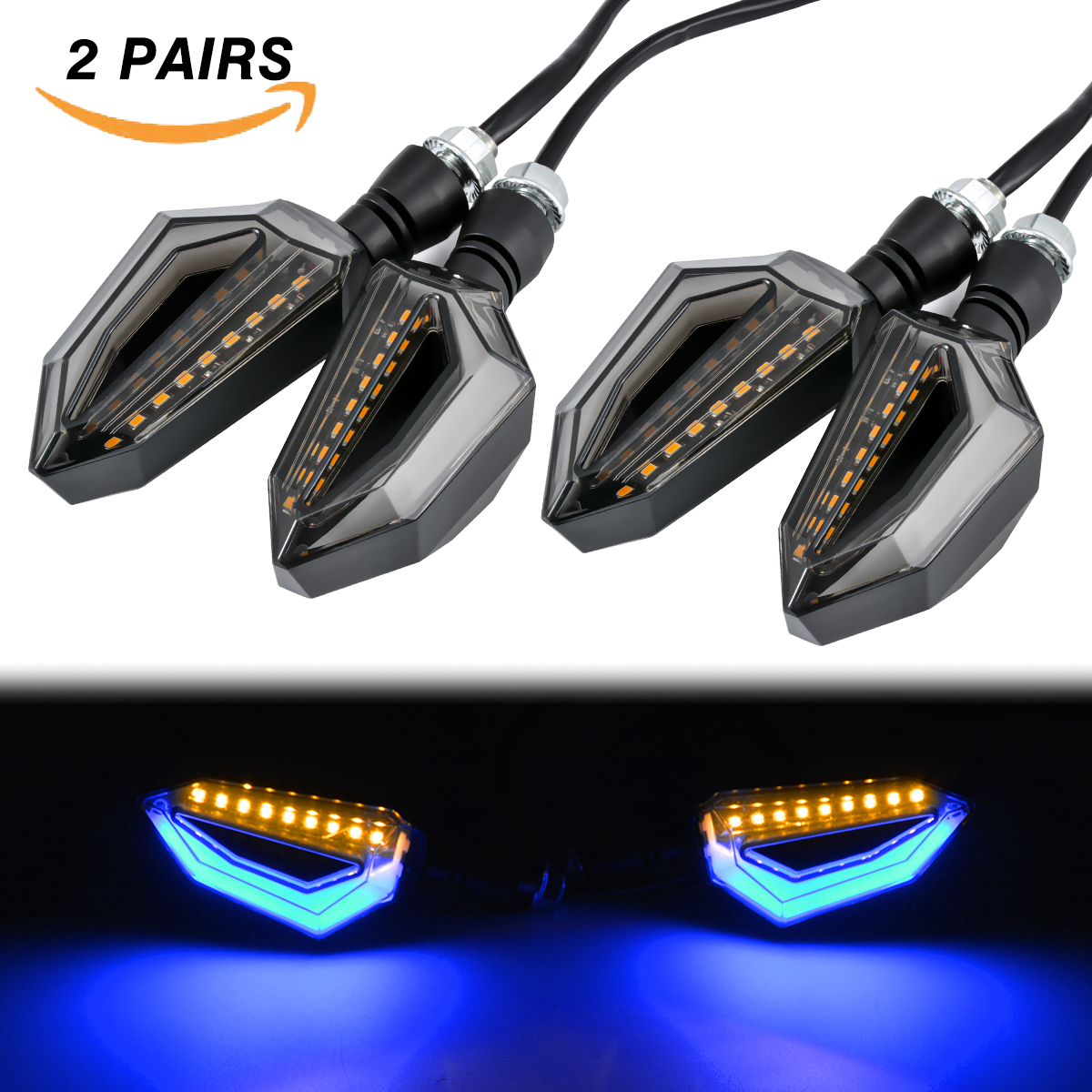 4x LED Motorcycle Day Night Light White Red Amber Flowing Turn Signal Indicator