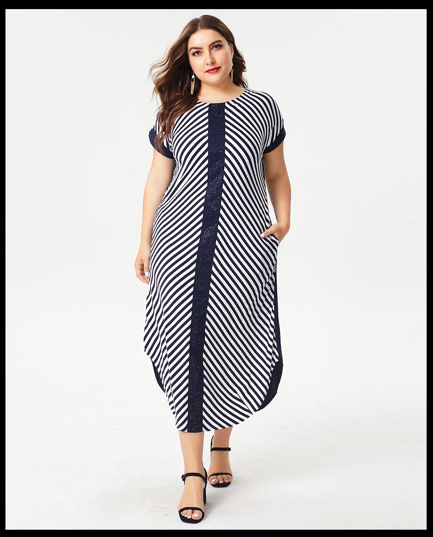 Details about Summer Ladies Plus Size Stripe Work Dress Fashion Crystal  Long Dresses For Women