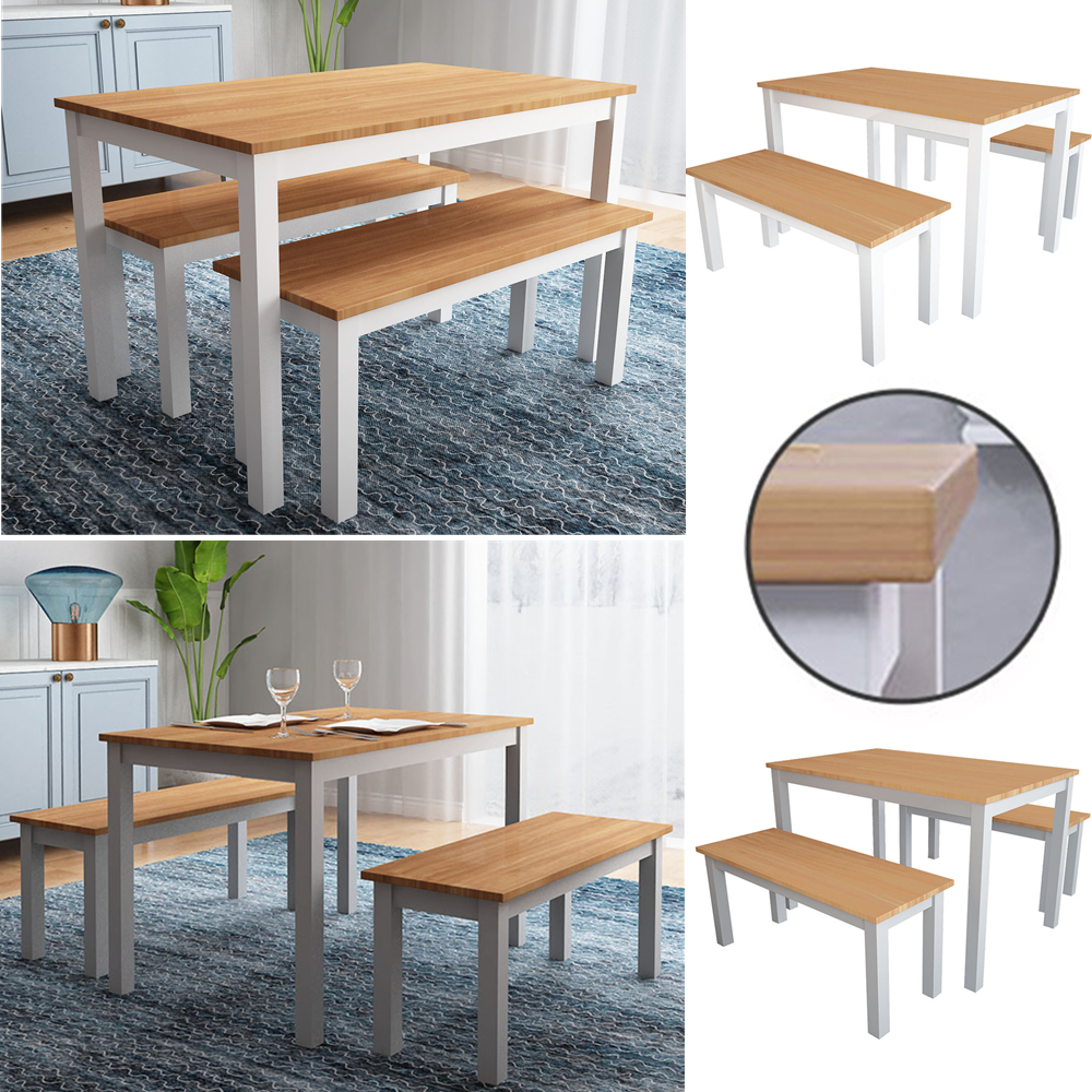 Solid Dining Table Set & 9 Bench Seat Grey/White Legs with Pine ...
