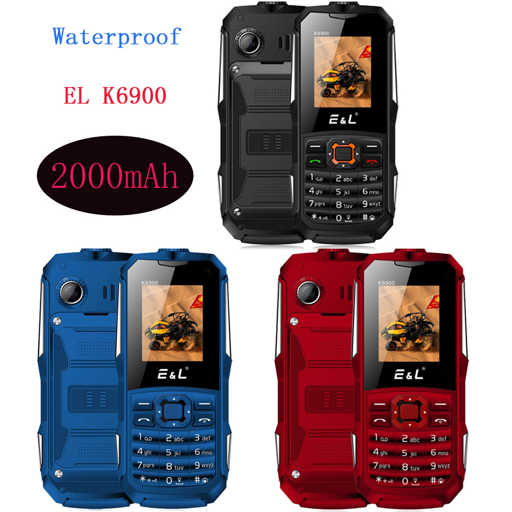 "IP68 Waterproof EL K6900 Phone 1.77 ""Quad Band Aktifkan Dual SIM 2000mAh 32MB + 32MB"