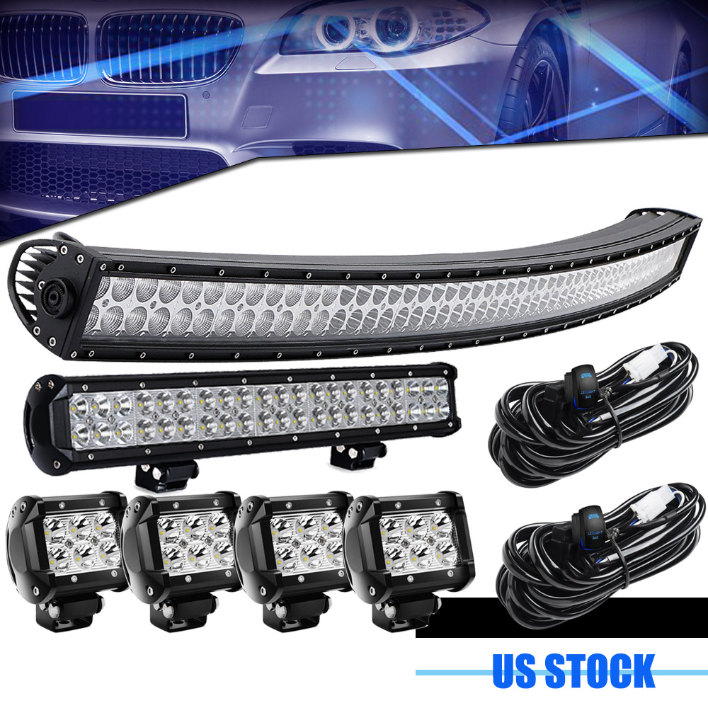 Jeep Wrangler Jk Yj Tj Lj Cj Front Roof Bumper 52 20 Curved Led Light Bar Kit