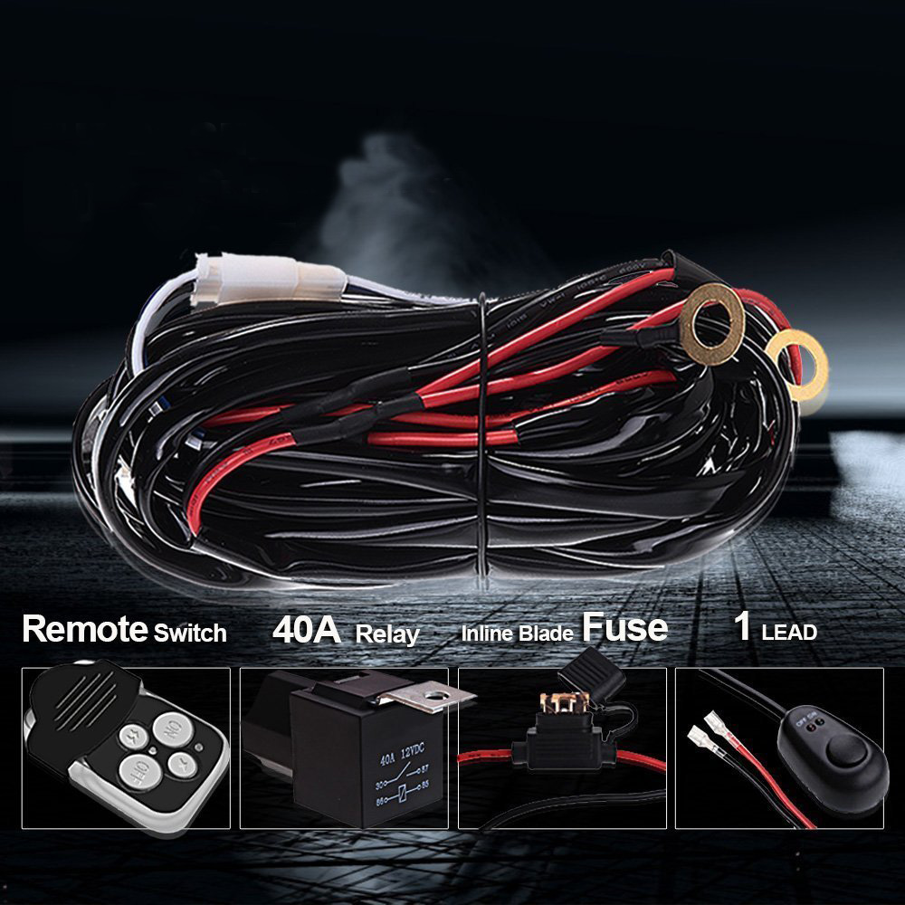 12v Wiring Harness Switch Relay Remote On Off Kit For Connect Led Track Lighting Fuse Work Light Bar 1 Lead