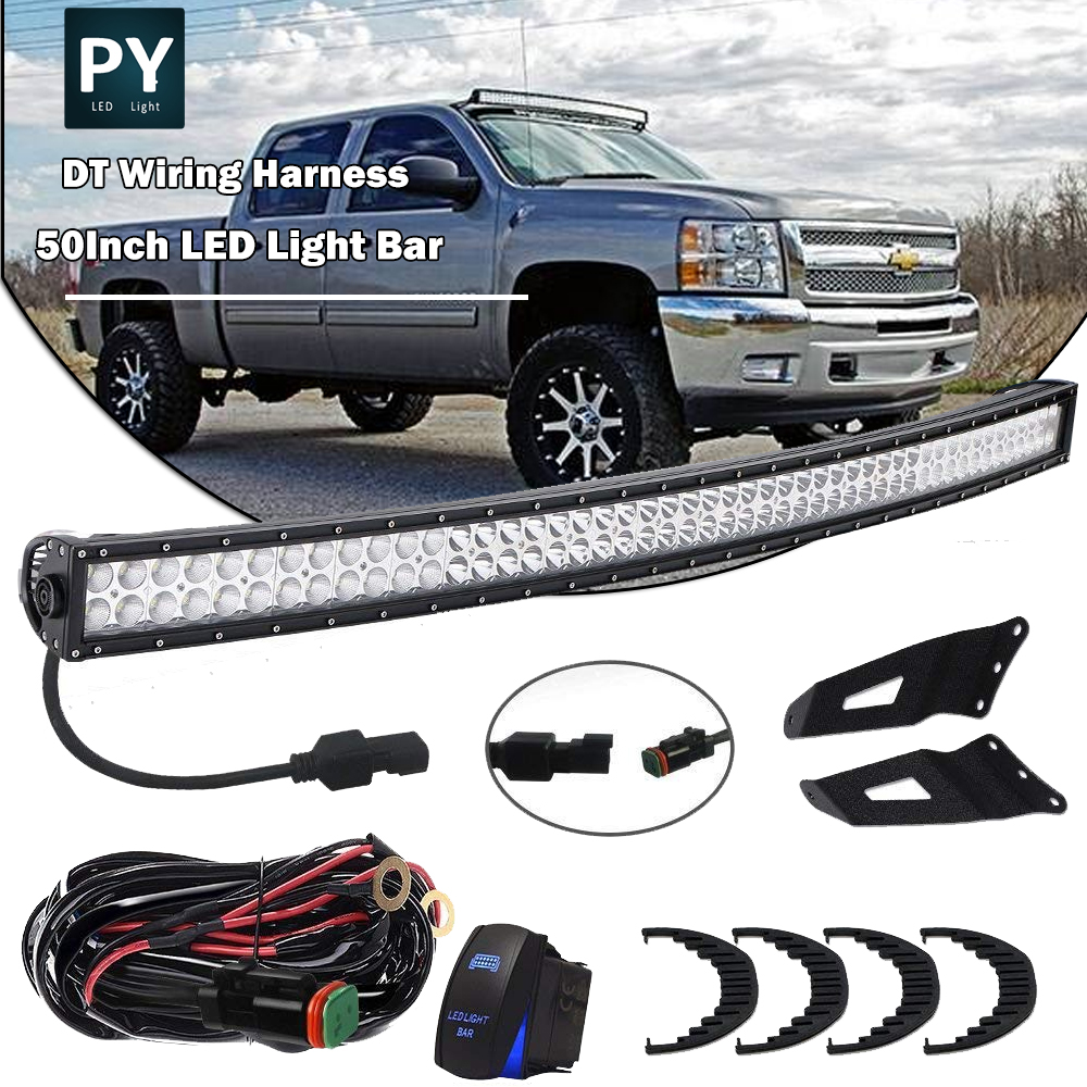 50inch Curved Led Light Bar Roof Mounting Brackets Chevy Gmc Sierra Wiring Harness 2007 2013 Pickup Plug And Play Fog