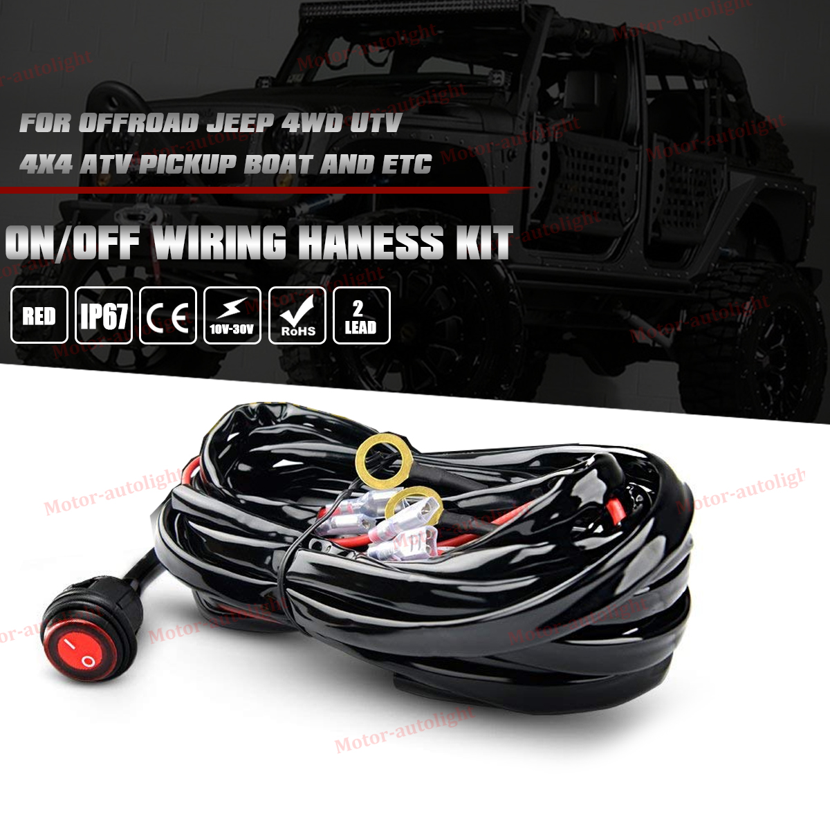 Led Wiring Loom Harness Kit One To Two Universal Driving Light Bar Utv Off Road 12v On Waterproof Switch 2 Lead