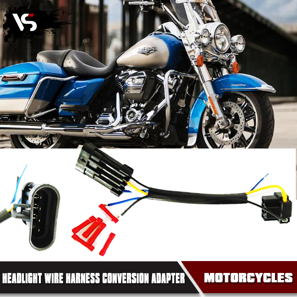 """5.75"""" 7"""" LED Headlight Wire Harness Adapter for 14-16 Harley Motorcycle"""