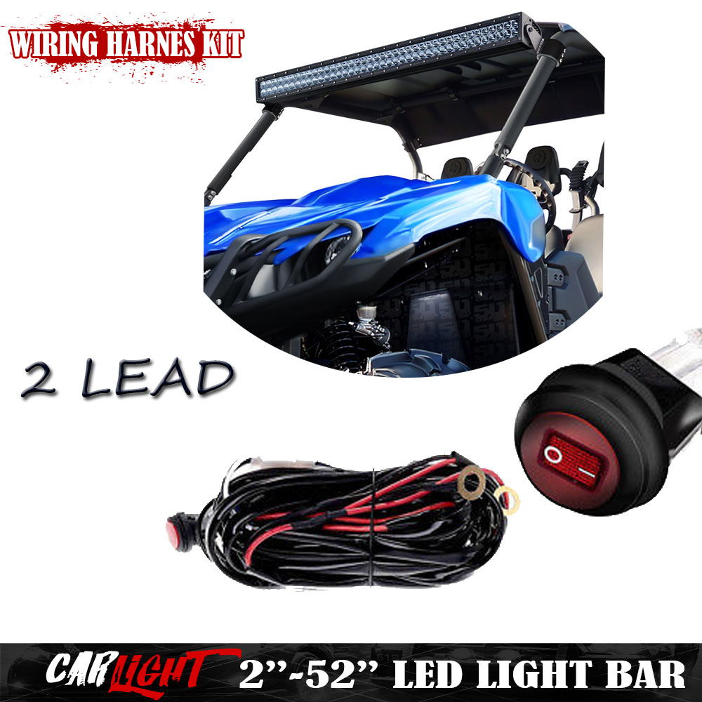 2 54 Offroad Led Work Lights Red Toggle Switch Wiring Harness Kit 12ft Fuse