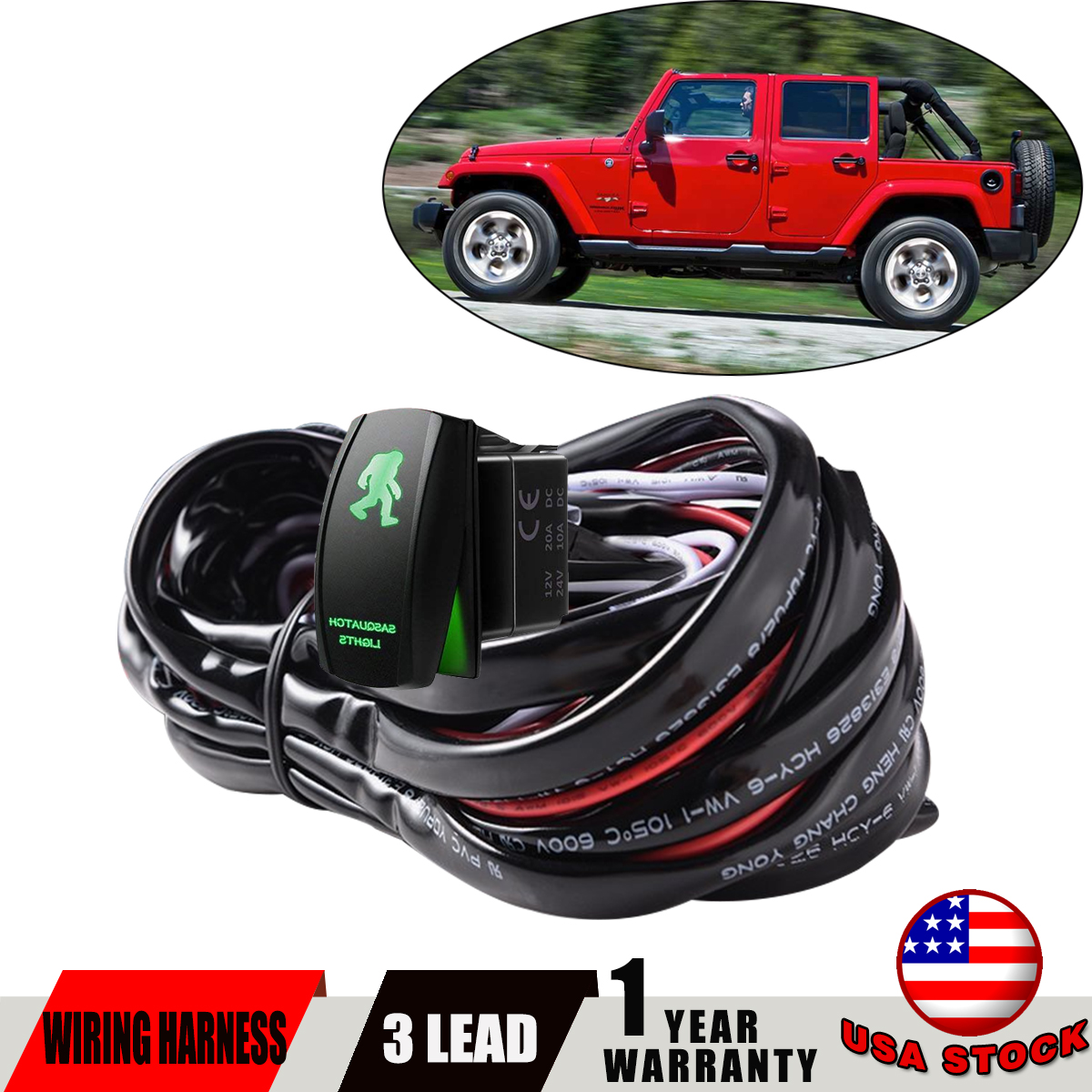3 Lead Led Light Bar Wiring Harness Kit Fuse 12v 40a Relay On Off Car Blue Red Rocker Switch With