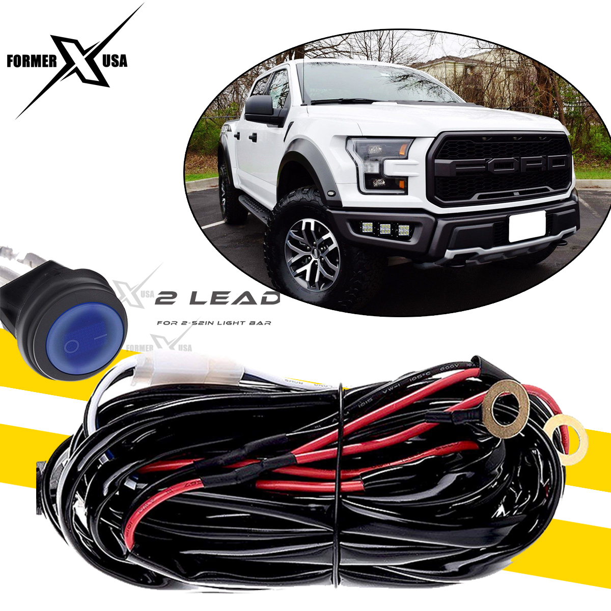 Universal Led Driving Fog Lamp Wiring Harness On Off Switch Kit 12v Light Relay 2 Lead