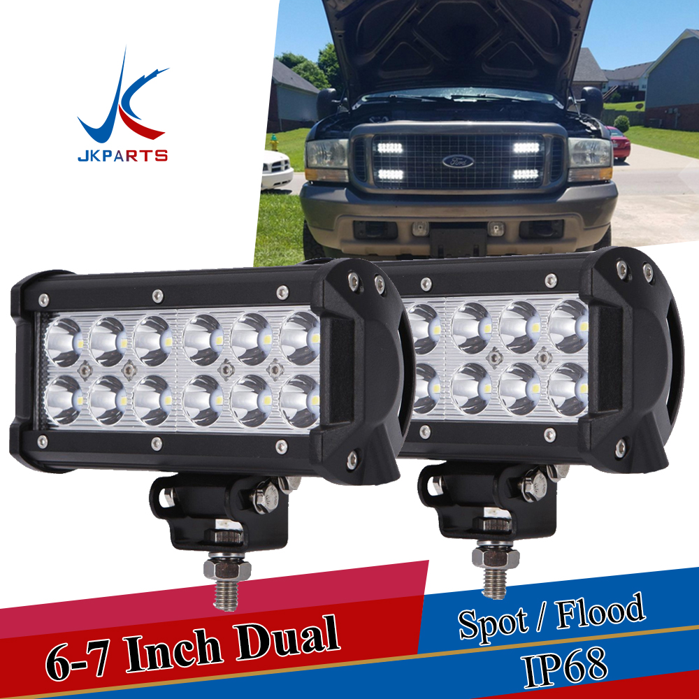 "2X 7Inch Led Work Light Bar SPOT Dual-Row Offroad Driving Fog Lamp 6/""5/"" ATV"