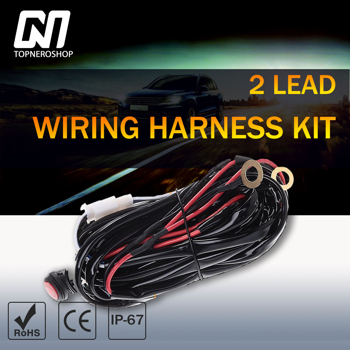 2 Lead Wiring Harness Kit 12v W Remote Control On Off Switch For Atv Ford Jeep