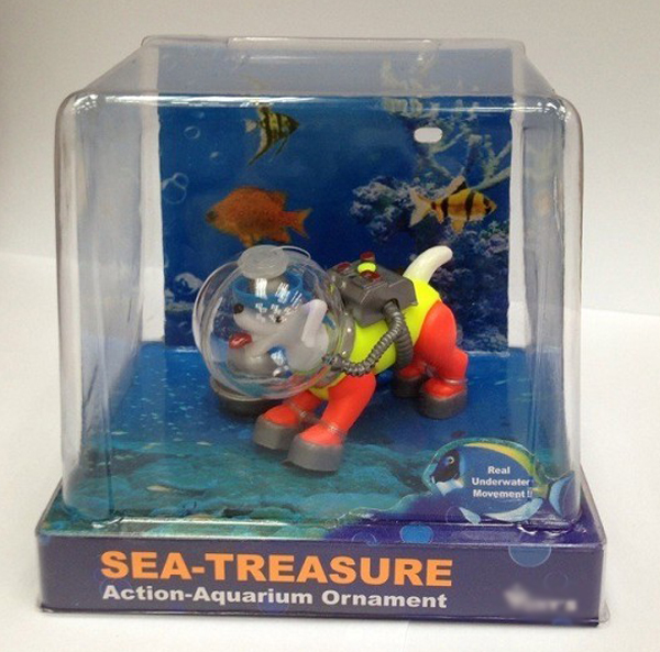 Action air diving sea dog orn for aquarium ornament fish for Diving and fishing mural