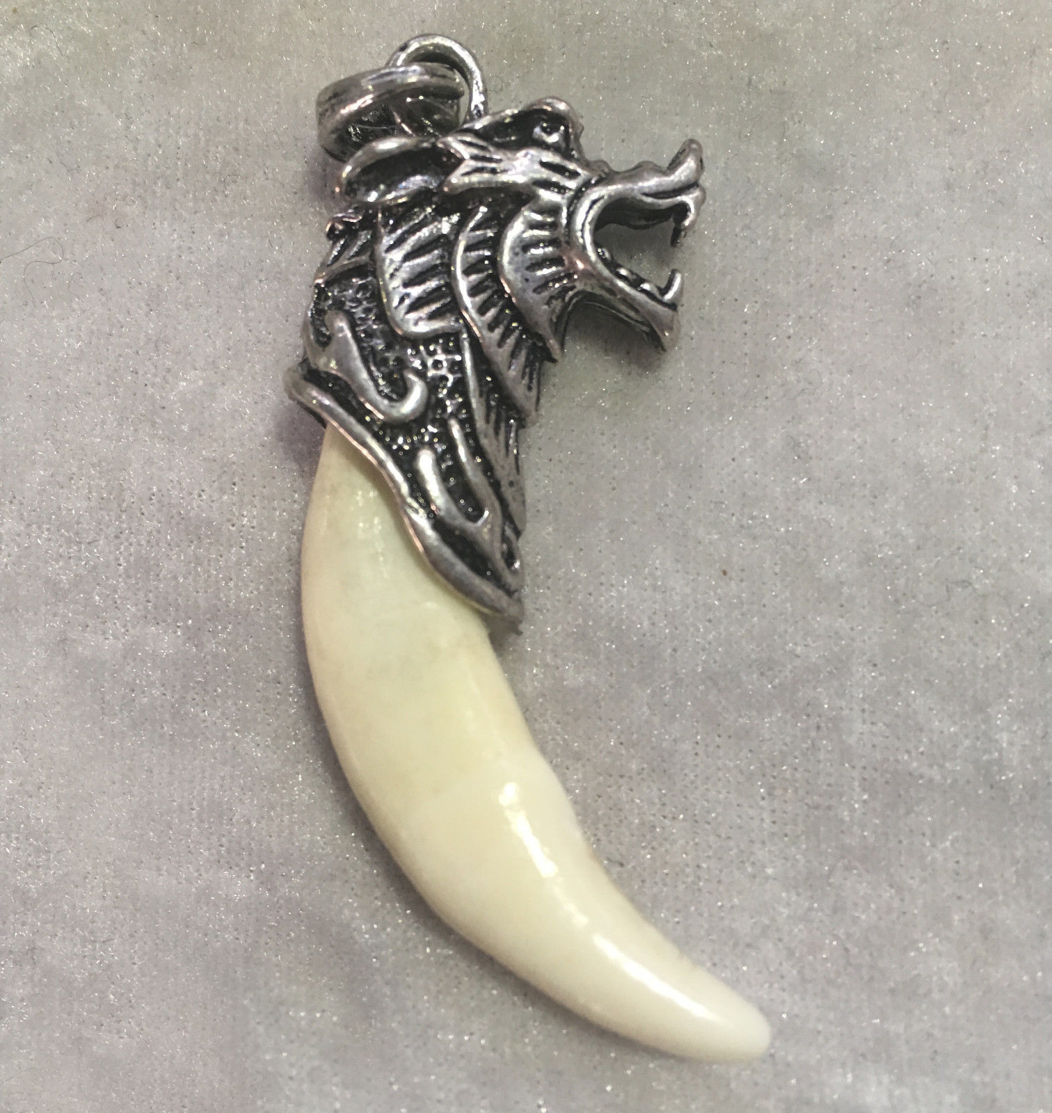 Chinese Antique Boars Tooth Wild Hog Silver Dragon protective talisman Pendant K