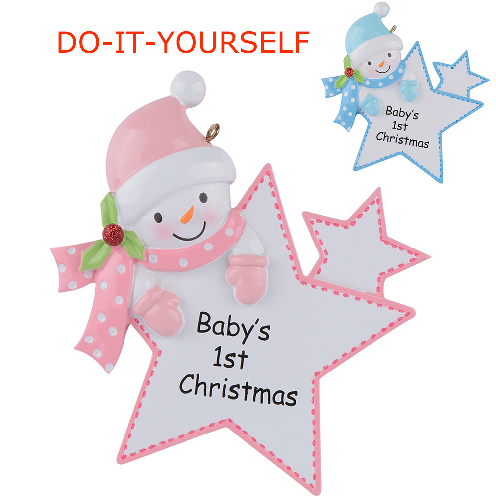 Baby\'s 1st Christmas Personalized Ornament Baby Girl/Boy Star ...