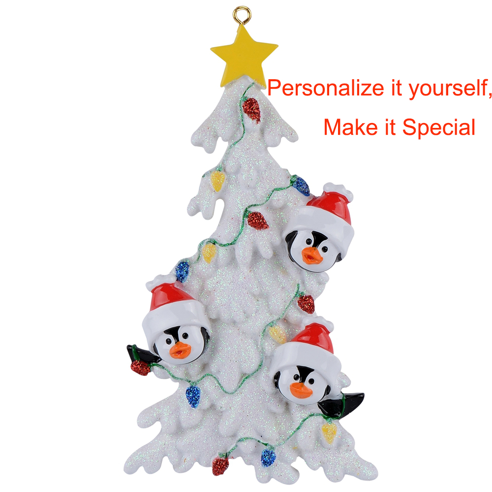 Penguin Family of 3 4 5 6 White Personalized Christmas ...
