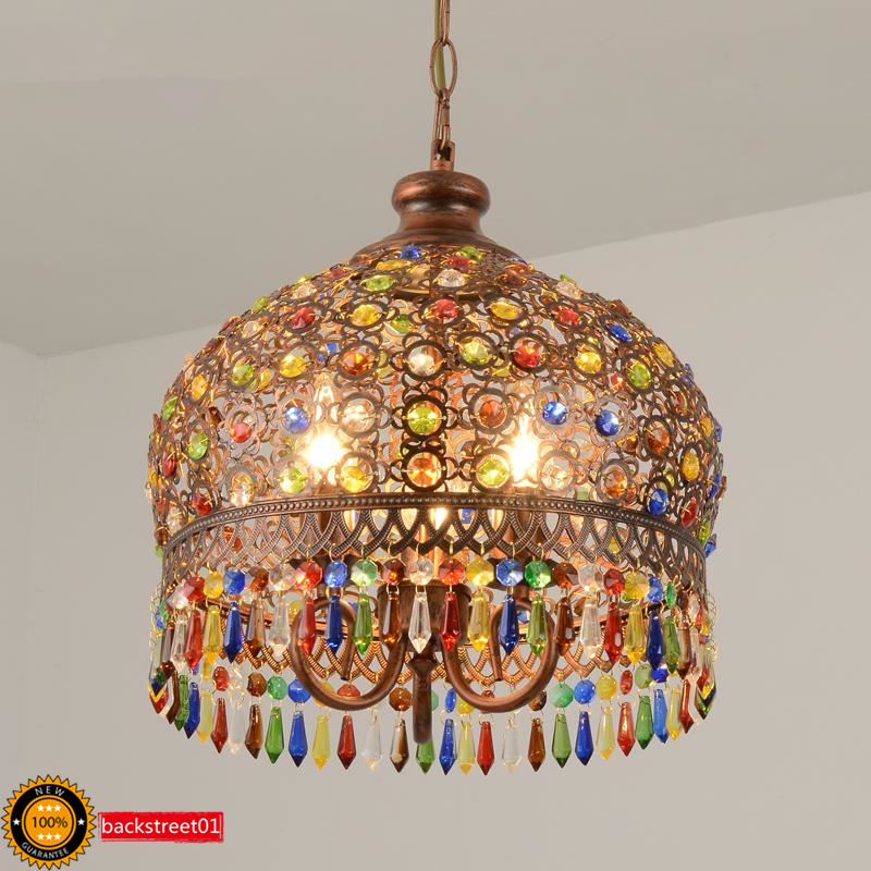 Details About Bohemian Style Iron Color Crystal Led Pendant Lamp Chandelier Ceiling Lighting