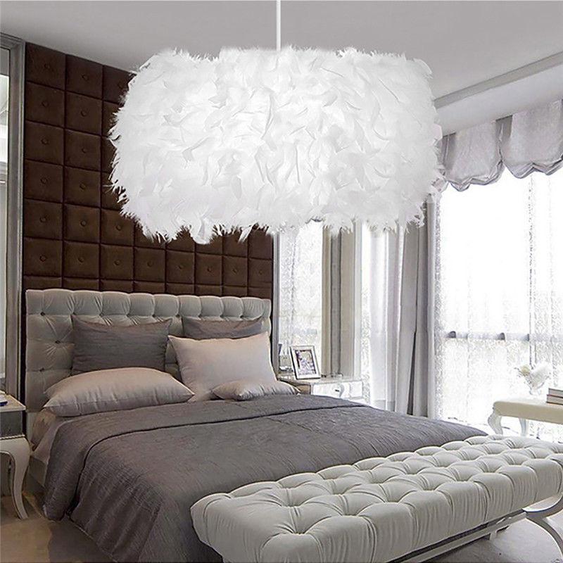 Schöne weiße traumhafte Feder Schatten Lampe Schlafzimmer ...