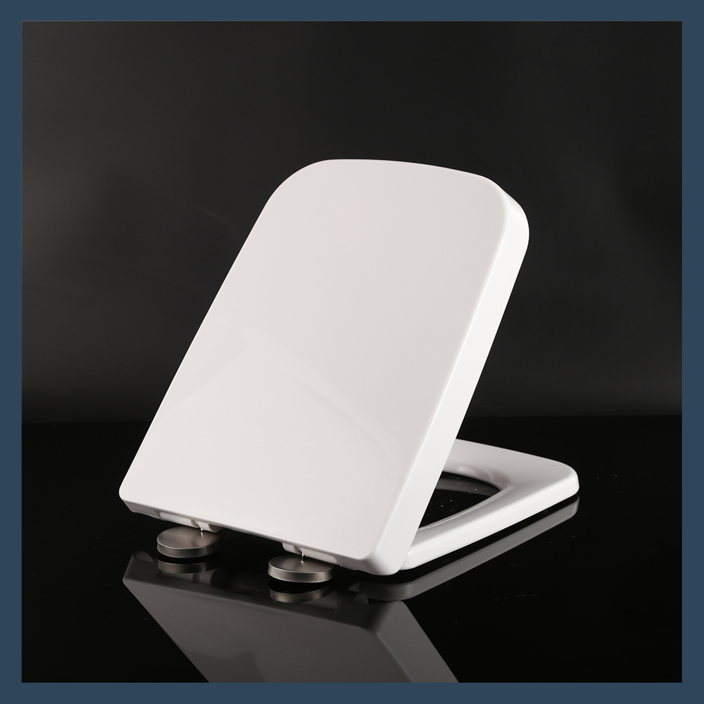 Family Toilet Seat Quick Release Soft Close Square White Plastic Modern Bathroom