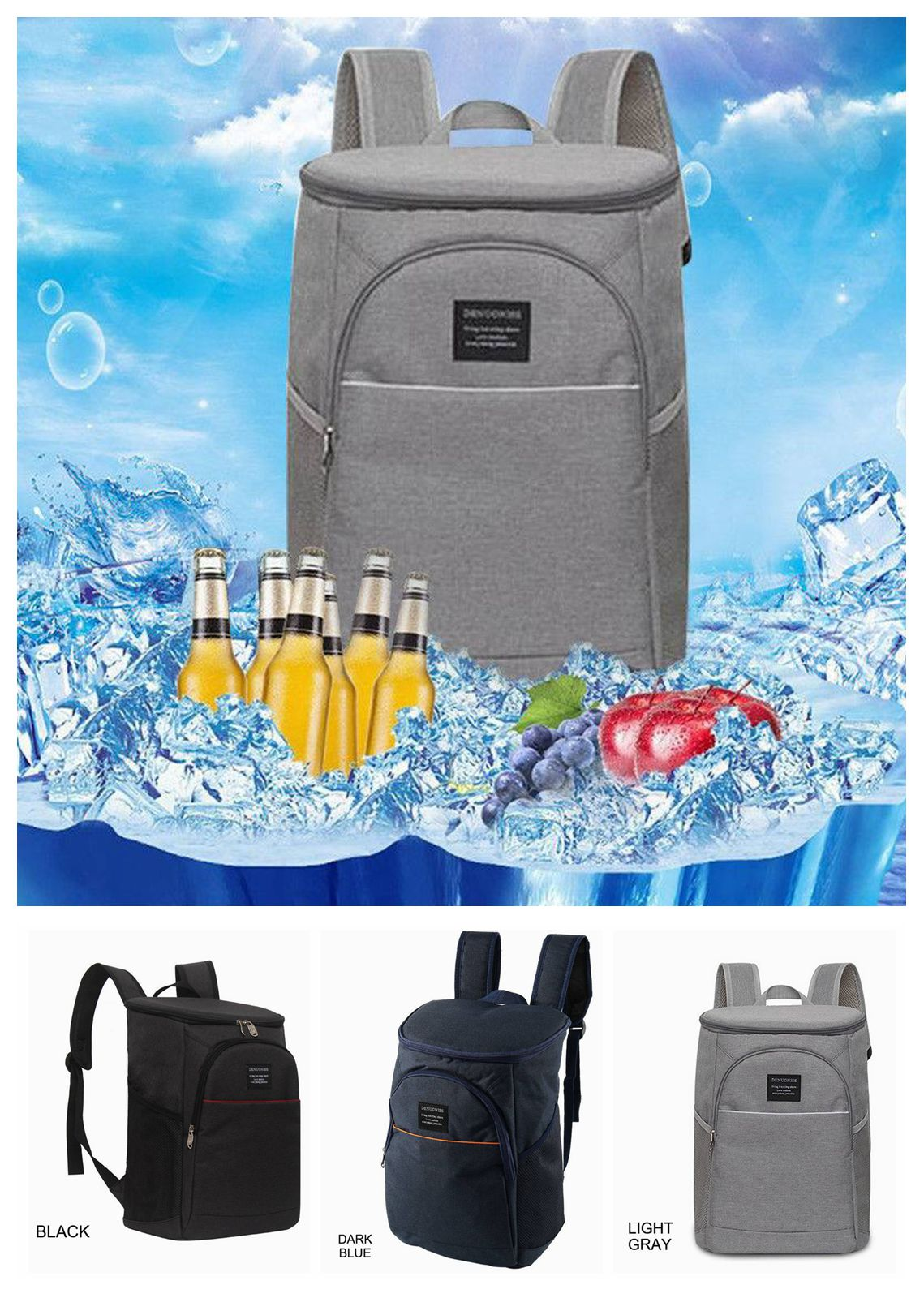 20L Insulated Cooling Backpack Cooler Summer Camping Beach Rucksack Fishing Bag