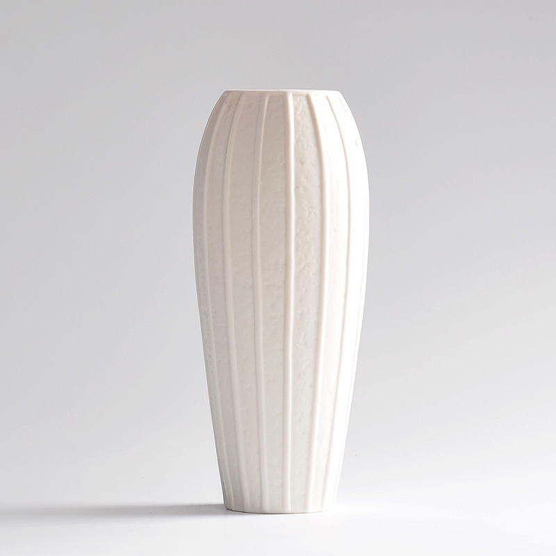 Home Desktop Decorative White Ceramic Vase Craft Modern Streamline