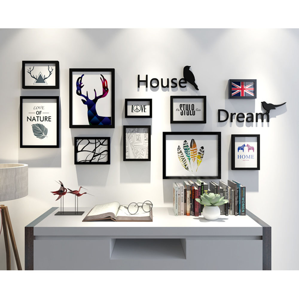 10PCS Square Photo Picture Frame Collage Set Black Mat Home Decor ...