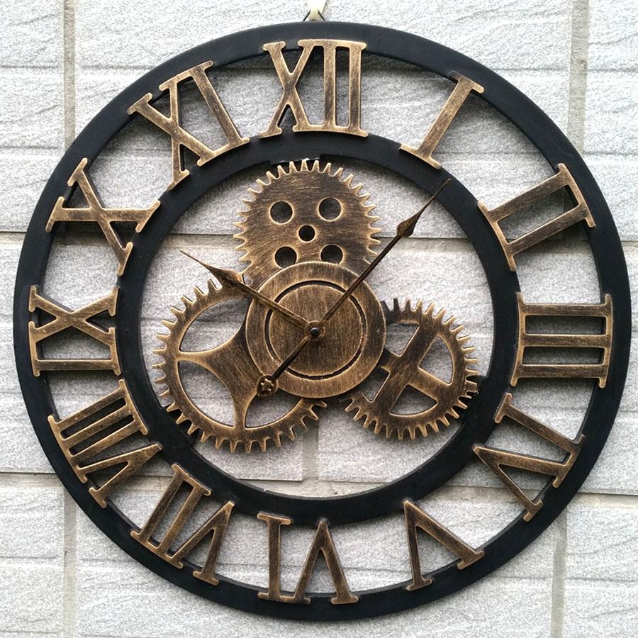 Wanduhr römische zahlen  φ45cm Vintage Wanduhr Quarzuhr Metall Römische Zahlen Uhr Zahnrad ...