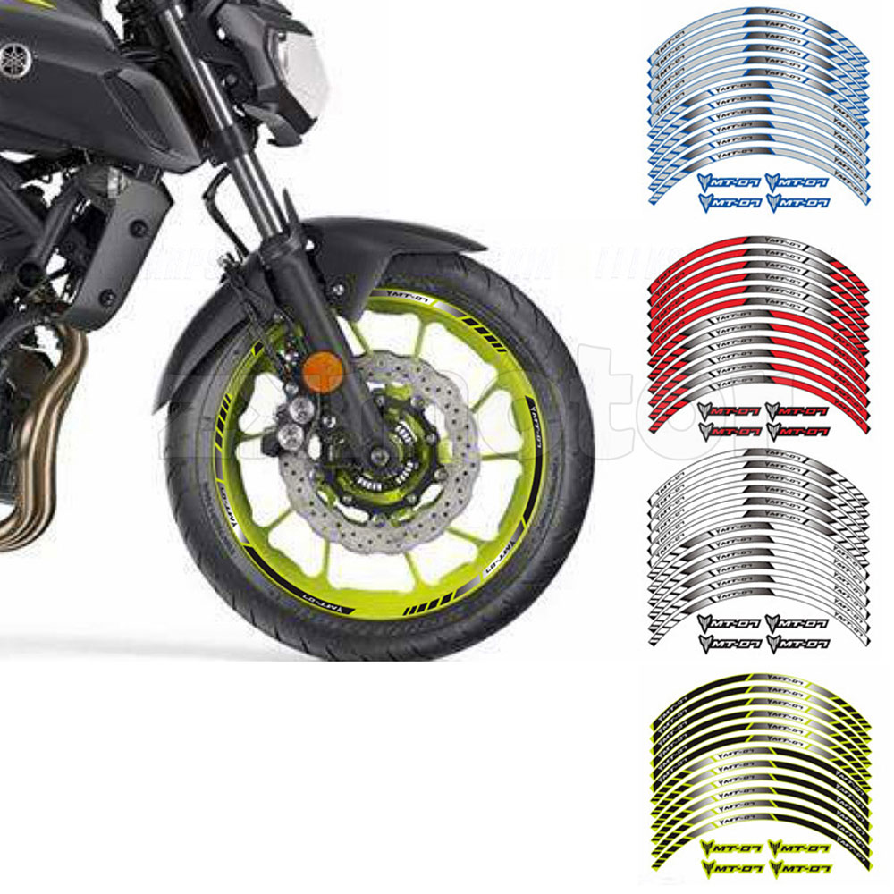 """FIT FOR YAMAHA MT-07 MT07 MOTORCYCLE RIM /""""17 STRIPES WHEEL DECALS TAPE STICKERS"""