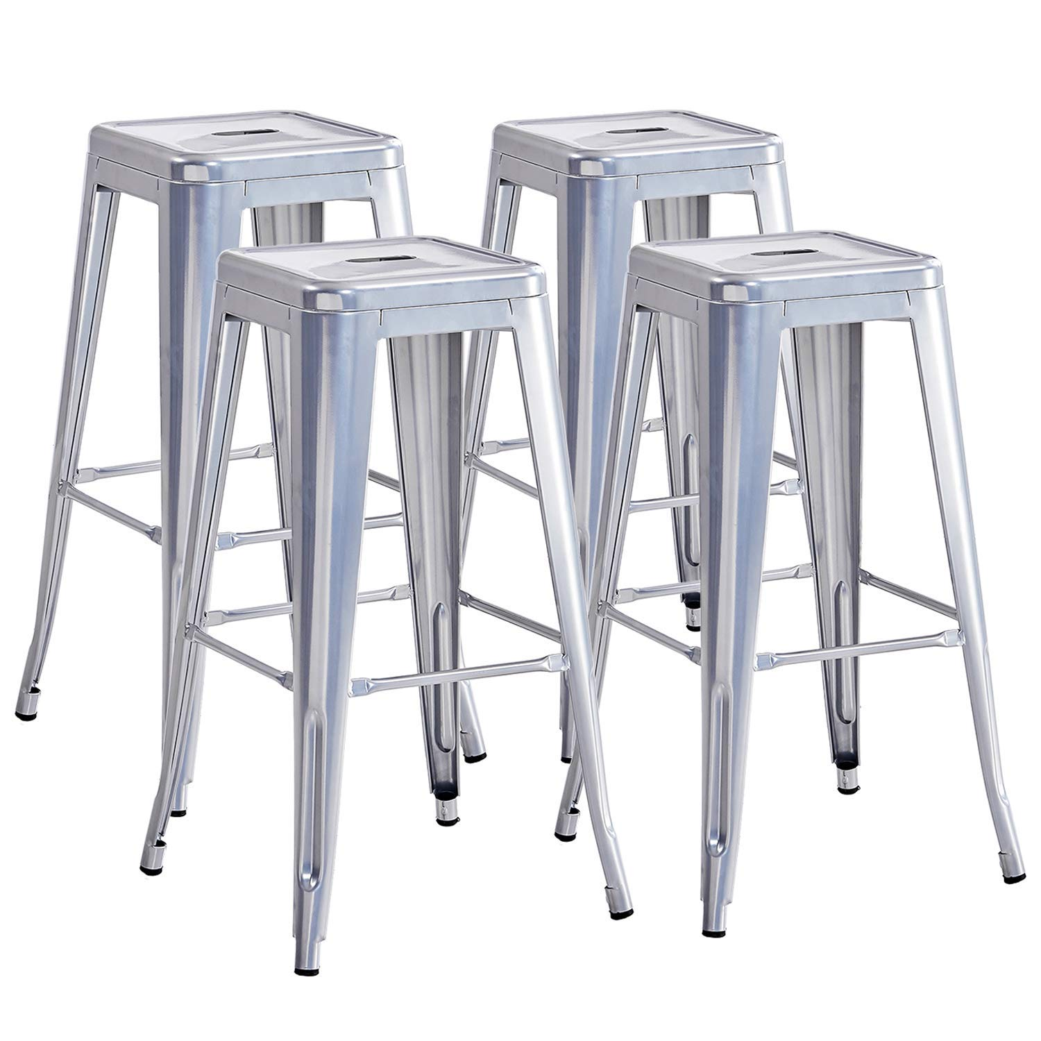 Details About Set Of 4 Industrial Metal Bar Stools 30 High Backless Stackable Tolix Style
