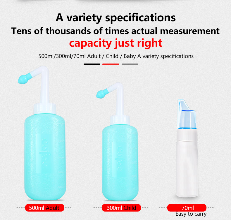 300500ml Nasal Rinsing Nose Wash Yoga Neti Pot Sinus System