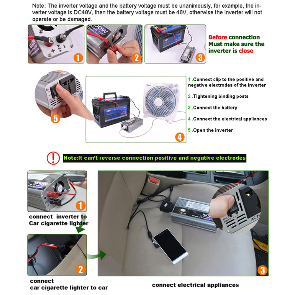 Universal 1000w Dc 24v To Ac 220v Auto Car Power Inverter Converter Making Technology For Adapter