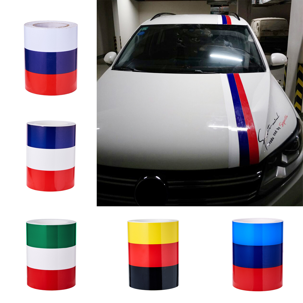 Details about triple color trunk car hood roof racing rally stripes graphic decals vinyl wrap