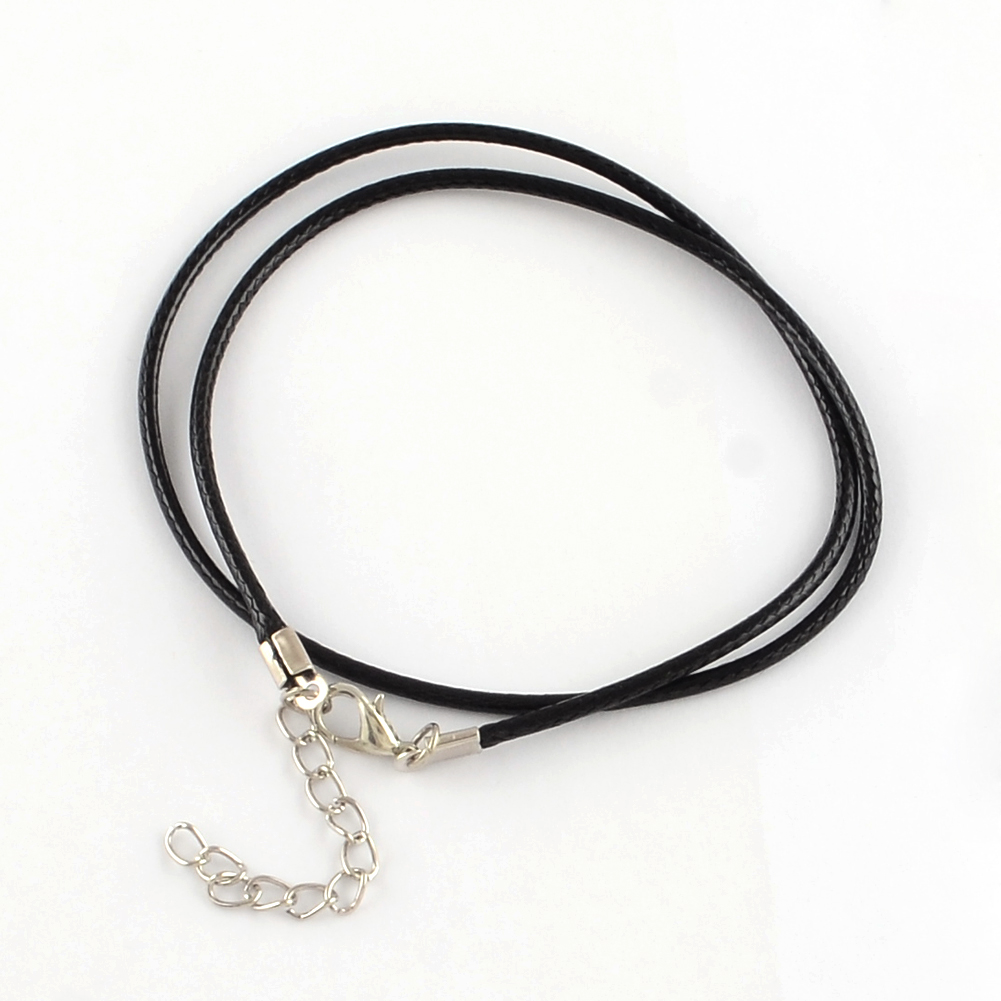 """100pc Waxed Cord Necklace Making Craft With Brass Lobster Claw Clasps Black 18/"""""""