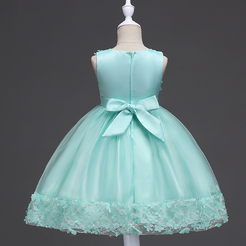 Kids Girls Bridesmaid Dress Baby Lace Flower Bow Party Wedding ...