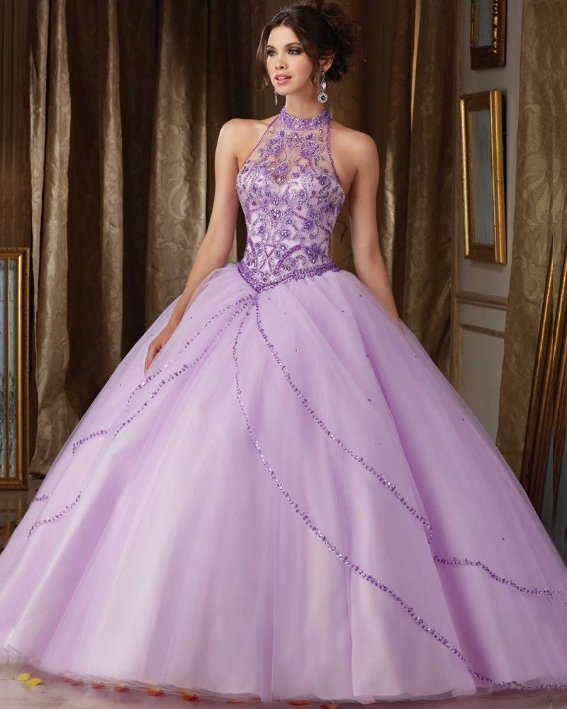 New Light Purple Quinceanera Dresses Beads Crystals Ball Gown ...