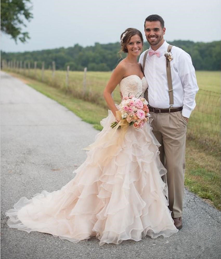 Vintage Blush Pink Country Wedding Dresses Ruffles Backless Organza ...