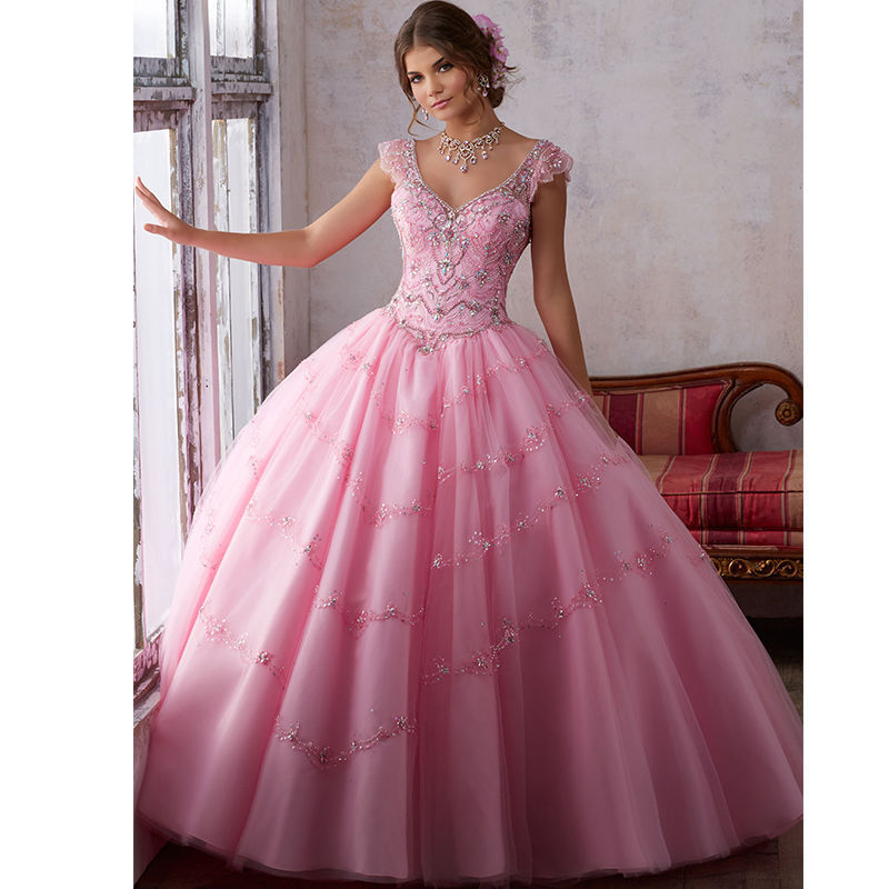 New Hot Beaded Quinceanera Dress Ball Gown Formal Prom Party Wedding ...