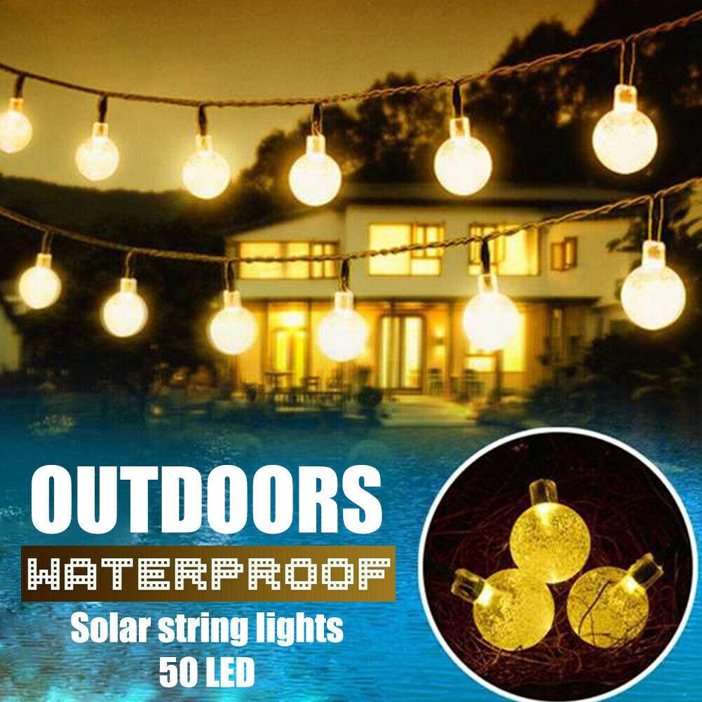 Solar Powered Rope Led String Fairy Lights Garden Walkway Decor Lamp waterproof