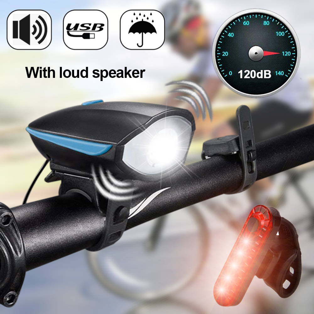 Horn USB Rechargeable Bicycle Headlight Bike Head Light Front Rear Lamp Cycling