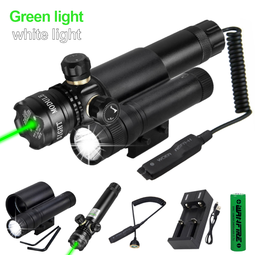 LED Taschenlampe Picatinny Rail Montieren Jagd Licht Lampen 2 Modus Schwarz